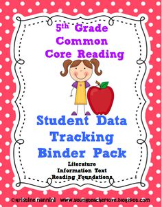 """This is the latest from YoungTeacherLove!! My student data tracking binders are now aligned to Reading and Writing Common Core State Standards. Students can rate their learning, graph pre and post assessments, and keep track of the standards with """"I can"""" checklists written in kid language! Check out her blog at: www.youngteacherlove.blogspot.com to get the step-by-step on how to set these binders up!"""