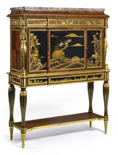 Maison Krieger, Fl. 1826-1900 A French gilt bronze mounted satiné and Japanese lacquer cabinet-on-stand Paris, circa 1900 surmounted by a fleur de pêcher marble top and pierced gallery above two cupboards and a frieze drawer, the lock signed Maison Krieger, Ameublement Paris