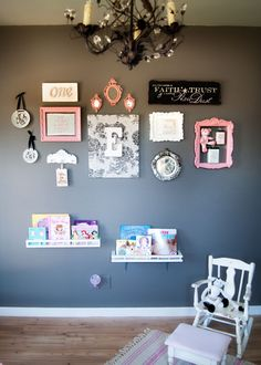 Dimples and Pig Tales.. I liove the framed wall minus those shelves, maybe something different,.maybe