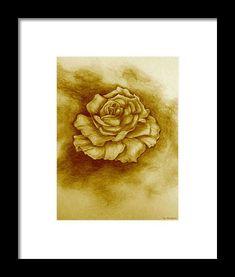 Golden Rose Framed Print by Faye Anastasopoulou Rose Frame, Sketch Drawing, Frame Shop, Artist At Work, Designs To Draw, Framed Art Prints, Modern Contemporary, Fine Art America, Original Art