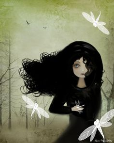 Whimsical Goth Girl and Dragonflies Art Print via Etsy.