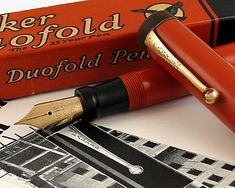 1920s Parker Duofold Fountain Pen, original flat top. Yummy Big Red Goodness.