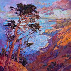 Cypress trees modern California impressionism style oil painting by Erin Hanson.