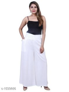 Checkout this latest Palazzos Product Name: *Women's Solid Pack of 1 Palazzo* Fabric: Rayon  Size: M - 30 in L - 32 in XL - 34 in XXL - 36 in XXXL - 38 in 4XL - 40 in Length: Up To 39 in Type: Stitched Description: It Has 1 Pieces Of Women's Palazzo Pattern: Solid Country of Origin: India Easy Returns Available In Case Of Any Issue   Catalog Rating: ★4.2 (633)  Catalog Name: Alice Fancy Rayon Women's Palazzo Vol 1 CatalogID_199385 C79-SC1039 Code: 113-1533666-378