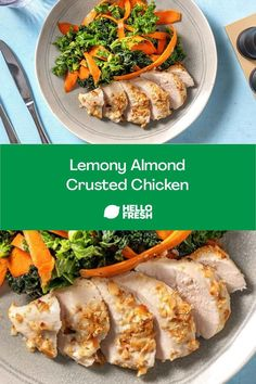 When you need an easy chicken recipe for dinner with only a few ingredients, this dish has you covered! Crunchy almond chicken is paired with a kale and carrot salad and topped with a simply sweet apricot vinaigrette. Get cooking this carb-conscious meal with the full recipe! Almond Crusted Chicken, Almond Chicken, Date Night Recipes, Dinner Recipes, Family Recipes, Family Meals, K Food, Weeknight Recipes, Carrot Salad