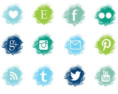 Social Media Icons - love these colours.