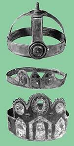 Three of eight Iceni bronze crowns and diadems from Hockwold, Norfolk, and Cavenham, Suffolk, c. 2nd-4th century AD. Source: photos by Otto Fein © The Warburg Institute, from J.M.C. Toynbee, Art in Roman Britain, Phaidon Press 1962, pls. 139, 140, 141.