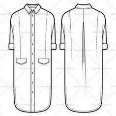 Women's Shirt Dress Fashion Flat Template
