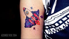 roxiehart666 | acidkidz tattoo | waterolor | rocket tattoo