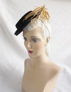 30's 40's Vintage Black Velvet Toy Tilt Hat by MyVintageHatShop, $85.00