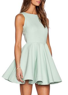 Sleeveless Open Back A Line Dress