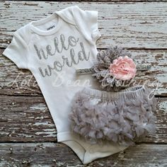 PRE ORDER Baby Girl Take Home Outfit Newborn Baby Girl Hello World Bodysuit Grey Bloomers Pink & Grey Headband Set (33.50 USD) by LolaBeanClothing