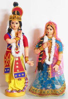Manipuri Dancers from Manipur,India Depicting Radha Krishna - Costume/Cloth Dolls