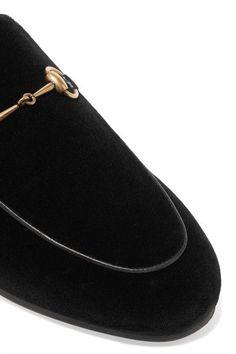 Gucci - Horsebit-detailed Shearling-lined Velvet Slippers - Black - IT40.5