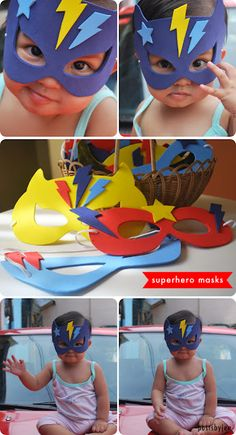superhero masks made of foam sheets Crafts For Boys, Diy Arts And Crafts, Projects For Kids, Diy For Kids, Foam Sheet Crafts, Foam Crafts, Crafts With Foam Sheets, Party Props, Diy Party