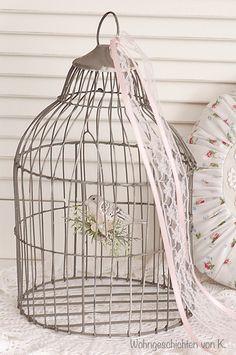 Deko-Objekte - Vogelkäfig Shabby Chic  - ein Designerstück von Wohngeschichten-von-K- bei DaWanda