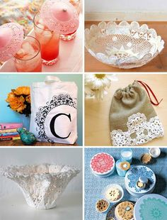 lace crafts; would be fun to try at work