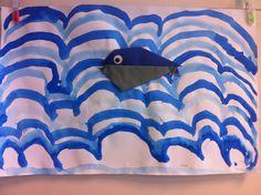 Walvis vouwen en dan op een achtergrond van golven met ecoline.