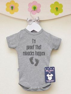 Miracles Happen Baby Clothes. I'm Proof That Miracles Happen Baby Boy Bodysuit. Unique Miracle Baby Birth Announcement. Baby Boy Clothes.
