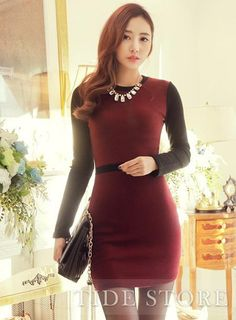 #Long #Dresses #Red Graceful Red Long Sleeves Round Neckline Cotton Dress