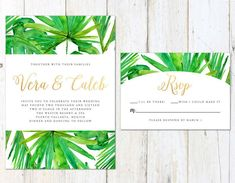 Tropical location for your wedding? Go with a spring green color palette and use lots of palm tree decor details. This pretty invite's gold accents highlight this green design.