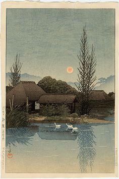 """Ukishima, Tozaki"" by Hasui, Kawase"