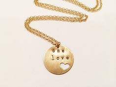 Bob Marley One Love Necklace Hand Stamped Heart by MallEadornments