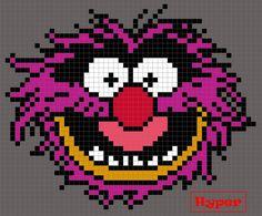 Animal From The Muppets (square) Perler Bead Pattern / Bead Sprite Perler Bead Designs, Hama Beads Design, Pearler Bead Patterns, Kandi Patterns, Perler Patterns, Beading Patterns, Perler Beads, Perler Bead Art, Cross Stitch Designs
