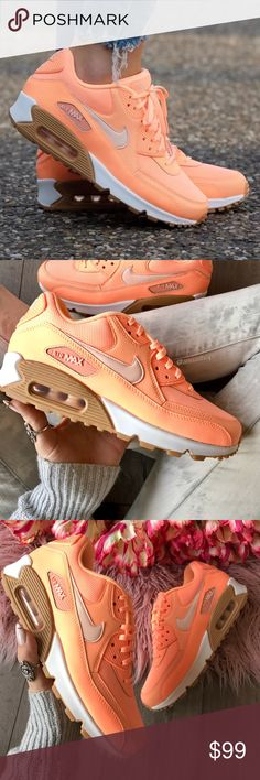NWT Nike Air Max 90 sunset  Brand new with box-no lid. Price is firm!!If you're not one to shy away from bright sneakers, take a close look at the Nike Air Max 90 Sunset Glow.  Said to be a women's colorway, this version the Nike Air Max 90 is done in a Bright Orange upper that's constructed out of synthetic leather and mesh. Adding a clean aesthetic to the shoe are the White of White on the midsole and the use of a gum rubber outsole. Nike Shoes Sneakers