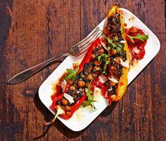 Fylld paprika med spenat och kikärtor
