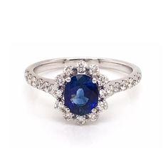Micro Set Oval Sapphire  Diamond Cluster Engagement Ring 1.26ct Oval Diamond, Sapphire Diamond, Diamond Rings, Diamond Cuts, Coloured Stone Rings, Diamond Cluster Engagement Ring, Dress Rings, Aurora, White Gold