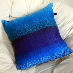 Preview image for Vintage cushion - blue stripe retro fabric