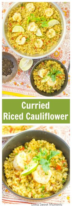 This delicious Curried Riced Cauliflower recipe with shrimp is low carb, paleo and keto friendly. Ready in 20 minutes for a quick weeknight dinner idea. #ad #ricedveggies #IC #keto #lowcarb #Onepotmeal #cauliflowerrice #20minutedinners #paleo  via @Livingsmoments