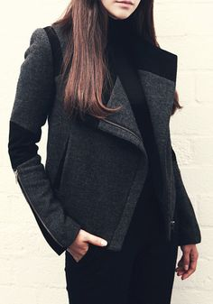 Zipper-Lapel Blazer