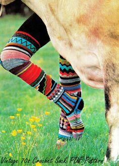 Vintage Crochet Sock - Pattern on Sale ❥ // hf Crochet Socks Pattern, Crochet Slippers, Crochet Patterns, Crochet Ideas, Freeform Crochet, Knit Crochet, Crochet Hats, Crochet Stitches, Knitting Socks