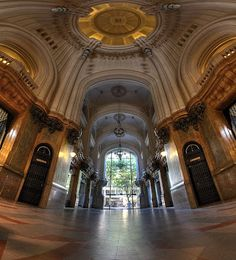 """The Palacio Barolo building, inspired by Dante Alighieri's """"Divine Comedy"""" - Buenos Aires, Argentina Spanish Courses, Spanish Class, Argentine Buenos Aires, Pro Art, Art Nouveau, Roads And Streets, City Buildings, Barcelona Cathedral, Luxury Homes"""