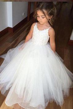 744a096de307 A Line Floor Length Spaghetti Sleeveless Appliques Flower Girl Dresses -  Ombreprom Tulle Flower Girl