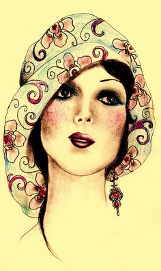 Flapper girl This would be so awesome on the front of an altered notebook with rhinstones and feathers Art Deco Illustration, Vintage Images, Vintage Art, Art Deco Stil, Art Moderne, Art Deco Fashion, Girl Fashion, Fashion Face, Runway Fashion