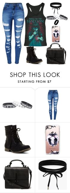"""""""Bring Me The Horizon"""" by lucy-wolf ❤ liked on Polyvore featuring WithChic, Casetify, Boohoo and West Coast Jewelry"""