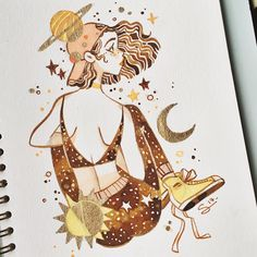 "24 mil curtidas, 84 comentários - @sibylline_m no Instagram: ""First painting of 2017 ! ☀️🌙💫 gold ink from @sennelier1887"""