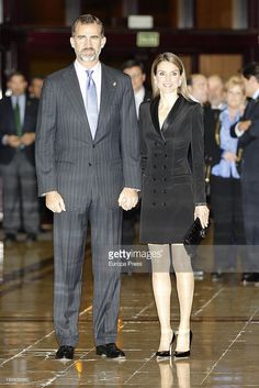 Prince Felipe of Spain and Princess Letizia of Spain. The double-breasted dress was first worn by Letizia in October 2013 at the Prince of Asturias Awards in Oviedo.