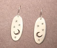 Night Sky, celestial silver earrings, hand made in Maine. $120.00, via Etsy.