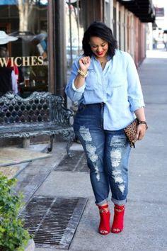 Looks plus size: Camisa jeans dobradinha