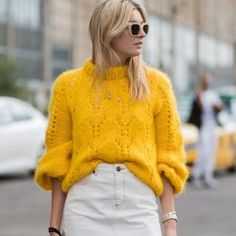 Wrap yourself in warmth and luxury with our edit of new-season knitwear. The canary-yellow hue of this sweater ensures youll stand out in a crowd. Discover more via the link in bio. Zara Outfit, Today's Outfit, Yellow Sweater Outfit, Sweater Outfits, Winter Stil, Outfits Mujer, Rene Caovilla, Knitwear Fashion, Moda Fashion