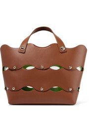 Clarissa studded scalloped leather tote