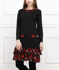 Take a look at this Black & Red Plaid Double-Pocket Dress on zulily today!