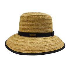 Cappelli Big Brim Hat with Ribbon Accent Cloche Hat, Brim Hat, Summer Hats For Women, Paper Straws, Ribbon, Bows, Black, Larger, Detail