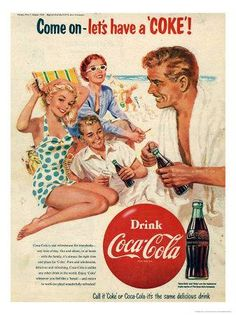 what makes this Coca-Cola advert 60s? they style of the picture, the dressing, the hair style,