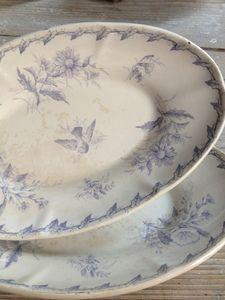 Gien Faience Platters w/beautiful bird center FleaingFrance Brocante Society