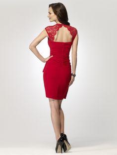 COCKTAIL DRESSES | Red Lace Shoulder Dress | Caché